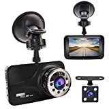 "Dash Cam, GERI Black Box dash camera Full HD 1080P 3"" LCD Car DVR dual Camera Video Recorder with G-Sensor Night Vision Motion Detection WDR 170° Wide Angle with reversing camera"