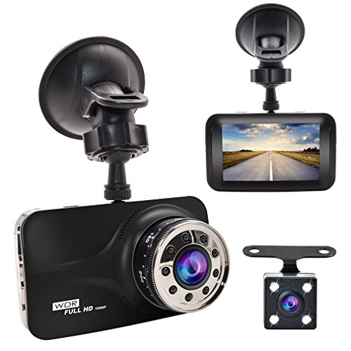 Dash Cam, GERI Black Box dash camera Full HD 1080P 3″ LCD Car DVR dual Camera Video Recorder with G-Sensor Night Vision Motion Detection WDR 170° Wide Angle with reversing camera