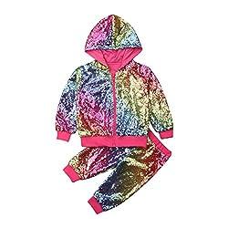 Rainbow Hooded Sequin Long Sleeve Zip Sweatshirt & Pant