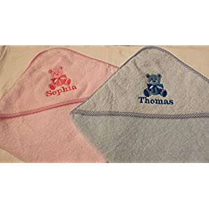 Personalised Hooded Baby Towel Embroidered with a Teddy Bear and Name Pink or Blue boy or Girl Gift