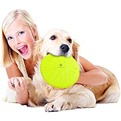 SunGrow Strong Dog Frisbee: Made with Natural industrial strength rubber: Bright Random Colored Flying disc : Encourages Healthy play & Exercise : Provides Bonding Time with Your Pet