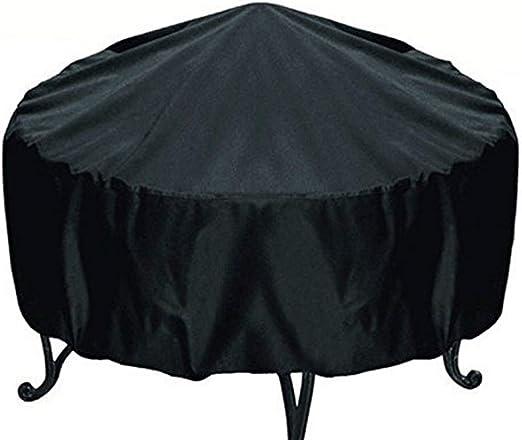 S Noir Rond Foyer Coque prot/ég/é Contre la poussi/ère /étanche dext/érieur Jardin terrasse Housse de Protection avec Cordon de Serrage pour r/échaud