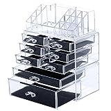 Songmics Acrylic Cosmetic/makeup Organizer Jewelry Display BoxesBathroom Storage Case 3 Pieces Set W/ 8 Drawers UJMU08T