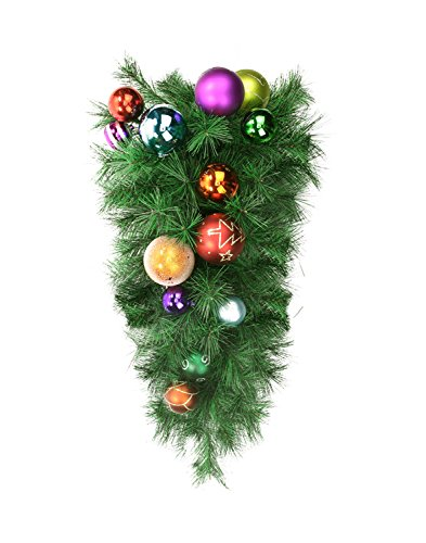 Northlight 24'' Pre-Decorated Multi-Color Ball Ornament Long Needle Pine Artificial Christmas Teardrop Swag - Unlit by Northlight