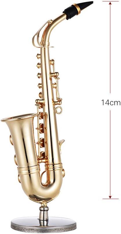 Muslady Contralto Sassofono Model Mini Ottone Squisito Decorazione per Strumenti Musicali da Tavolo Regalo Musicale con Delicate Box 14cm