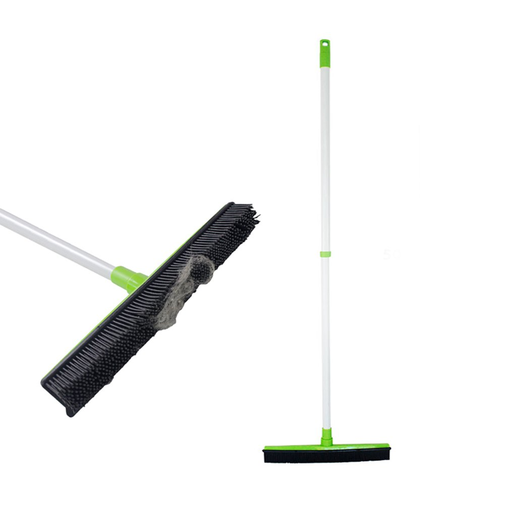 Push Broom with Soft Rubber Bristles Squeegee Edge Use for Pet Cat Dog Hair Perfect for Cleaning Hardwood Vinyl Carpet (Rubber Broom)