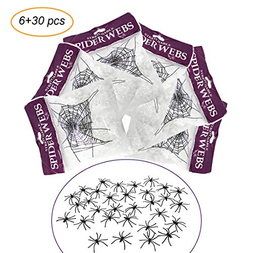 PickUrStyle Stretch Spider Web Halloween Decorations Cobweb White Synthetic Fiber for Party & Home 6 Pack with 30 Pack Spider