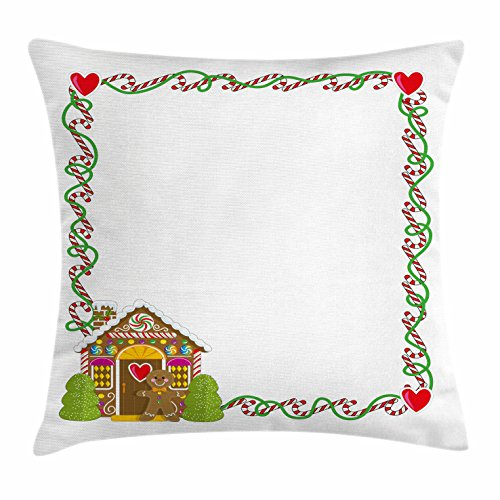 Ambesonne Kids Christmas Throw Pillow Cushion Cover, Frame Featuring Sweet Candy Canes Hearts and a Gingerbread Cookie House, Decorative Square Accent Pillow Case, 28 X 28 inches, Multicolor