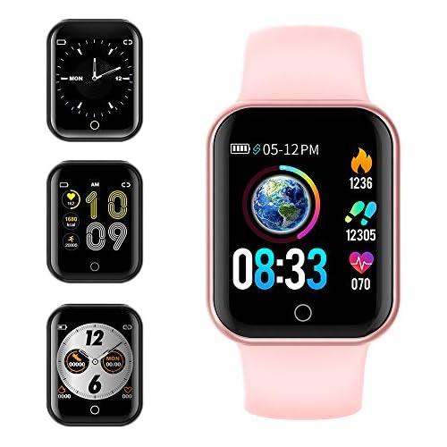 chollos oferta descuentos barato Smartwatch KUNGIX Reloj Inteligente Impermeable IP68 Pulsera de Actividad Inteligente con Monitor de Sueño Pulsómetros Podómetro Contador de Caloría para Hombre Mujer niños Rosa