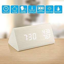 Oct17 Wooden Alarm Clock, Wood LED Digital Desk Clock, UPGRADED With Time Temperature, Adjustable Brightness, 3 Set of Alarm and Voice Control, Humidity Displaying - White