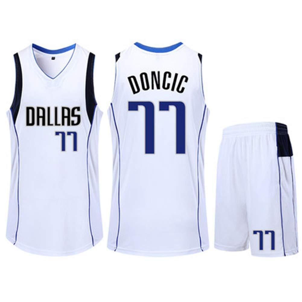Luka Doncic # 77 Dallas Mavericks Baloncesto Sin Mangas Cl/ásico Bordado Hombres Ni/ños Jersey Ni/ños Y Ni/ñas Tops Shorts Set,Blanco,S145cm//35~40kg