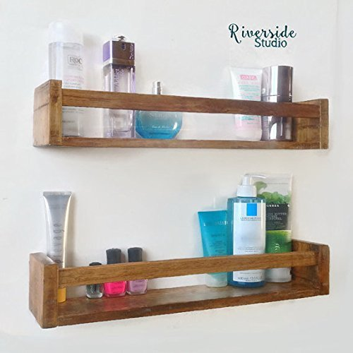 amazon com modern rustic floating shelf wooden bathroom shelves rh amazon com wooden bathroom shelves with towel bar wooden bathroom shelves industrial