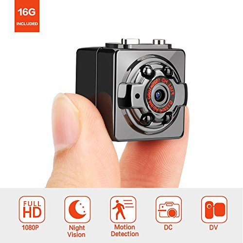 Hd 1080p Night Vision (Pocket Hidden Spy Mini Camera – FITFORT FULL HD 1080P 12MP Portable Nanny Cam with Night Vision & Motion Detection for Home and Office Surveillance, 16GB Micro SD Card Included)