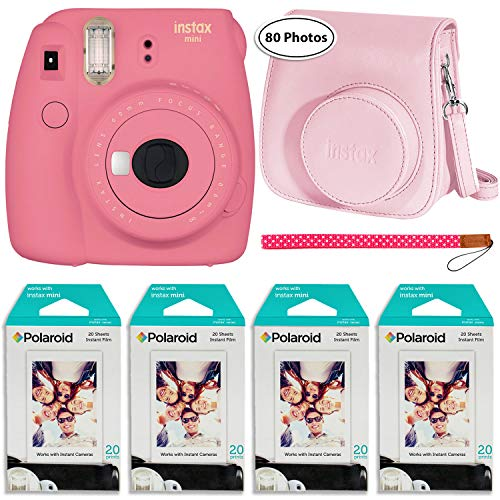 Fujifilm Instax Mini 9 Instant Camera (Flamingo Pink), Groovy Case and 4X Twin Pack Instant Film (80 Sheets) Bundle