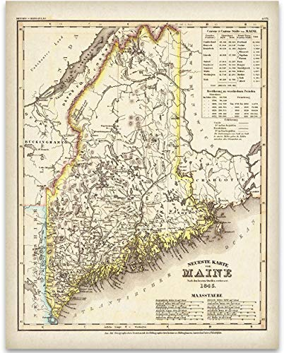 1845 Map of Maine Art Print - 11x14 Unframed Art Print - Great Vintage Home Decor Under $15