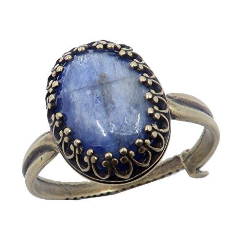 Kyanite Blue Ring Boutique Shimmering Metallic Blue Genuine Oval Gemstone Adjustable Metal B02 (Antiqued Brass 5-8)