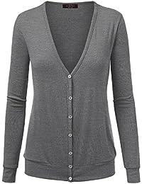 LL Womens V Neck Long Sleeve Button Down Classic Cardigan