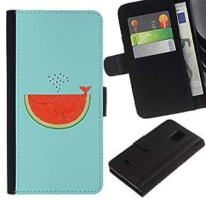 Planetar® Modelo colorido cuero carpeta tirón caso cubierta piel Holster Funda protección Para Samsung Galaxy S5 Mini / SM-G800 (Not For S5!!!) ( Watermelon Whale Art Drawing Tail )