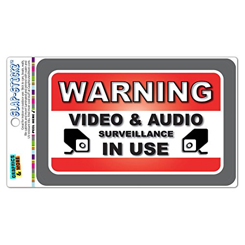 Warning Video And Audio Surveillance In Use SLAP-STICKZ(TM) Premium Laminated Sticker Sign