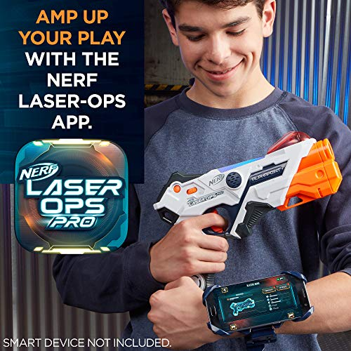 51a8SxmbgLL - AlphaPoint Nerf Laser Ops Pro Toy Blasters - Includes 2 Blasters & 2 Armbands - Light & Sound FX - Health & Ammo Indicators - For Kids, Teens & Adults