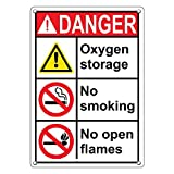 Weatherproof Plastic Vertical ANSI DANGER Oxygen Storage No Smoking No Open Flames Sign with English Text and Symbol