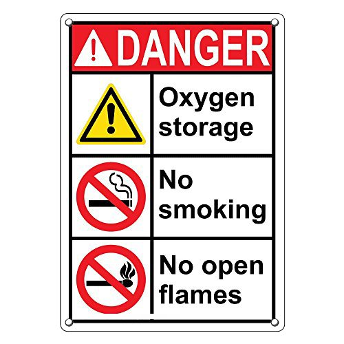Weatherproof Plastic Vertical ANSI DANGER Oxygen Storage No Smoking No Open Flames Sign with English Text and Symbol by SignJoker