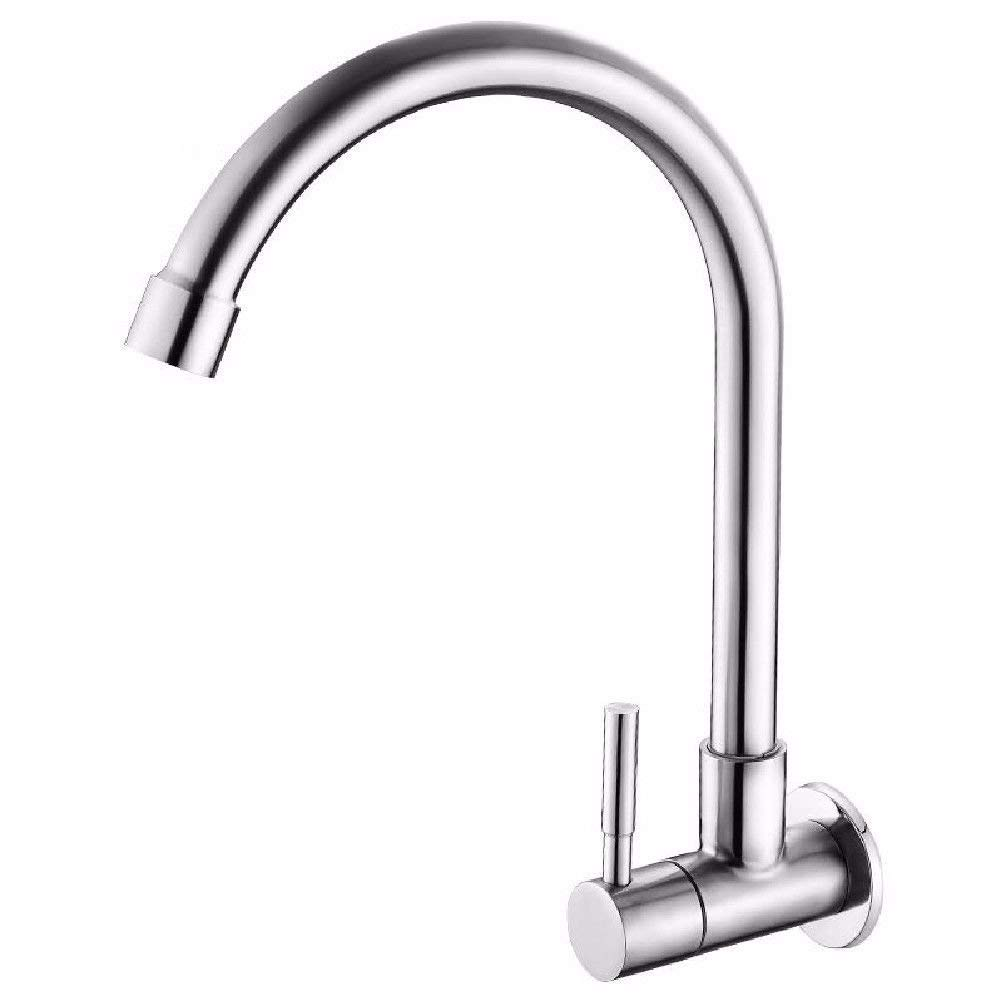 Oudan Bathroom Sink Basin Tap Brass Mixer Tap Washroom Mixer Faucet Single cold 304 brushed INTO THE WALL MOUNTED KITCHEN FAUCET dish washing basin of the sink