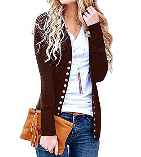 Long Coat Pure Sleeve Women's Autumn Knit Mogogo Open Color Brown Front Top Aqa5txv