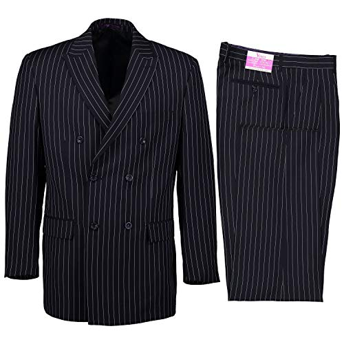VINCI Men's Gangster Pinstriped Double Breasted 6 Button Classic Fit Suit Navy | Size: 38 Short / 32 Waist