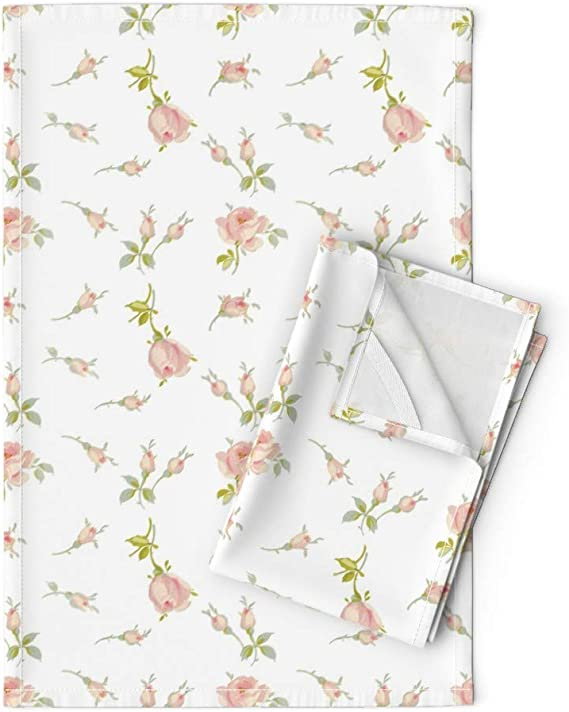 Set of 2 Rose Medallion Patterned Tea Towels
