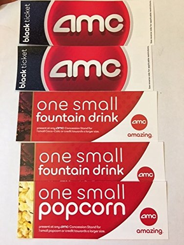 picture about Amc Printable Tickets known as AMC BLACK Video Ticket combo for 2 w/ 2tiny beverages and 1 lower popcorn