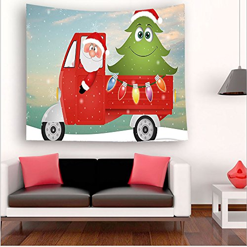 Nalahome-Christmas Santa in Red Vintage Truck with Fun Cartoon Xmas Tree and Colorful Fairy Lights es Multi tapestry psychedelic wall art tapestry hanging 51W x 51L Inches 59W x 59L Inches Christmas Tree Is Not Pagan