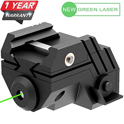 Laser Sight Rechargeable Mini Sub Compact Tactical Rail Mount Low Profile Green Dot Laser Sight with Build-in Rechargeable Battery for Pistol Rifle Handgun Gun(1 Pack, Black)
