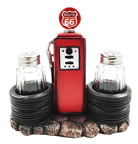 Route 66 Old Fashioned Gas Pump Station Salt Pepper Shaker Holder Figurine Cross Country Road Trip Lovers (Old Gas Pump compare prices)