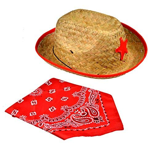 Joyin Toy Pack of 12 Childs Straw Cowboy Hats with Cowboy Bandannas (6 Red   3422eff2c79