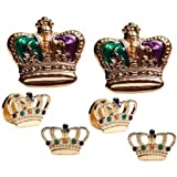 Mardi Gras Colored Crowns Gold Trim Tuxedo Studs and Cufflinks