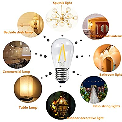 BRIMAX 2W LED S14 Light Bulbs, E26 Medium Screw Base, Equivalent to 20 Watt, Warm White Dimmable Clear Glass Energy Saving LED Filament Light Bulbs, Best for Outdoor and Room Decorative Lamp (6 Pack)