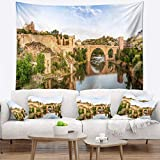 Designart TAP7055-39-32 'Toledo Bridge in Spain Landscape' Photography Tapestry Blanket Décor Wall Art for Home and Office, Medium: 39 in. x 32 in, Created on Lightweight Polyester Fabric