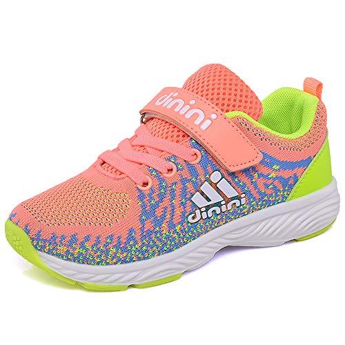 Kids Tennis Running Shoes Girls Boys Knit Lightweight Sneakers Mesh Athletic Walking Shoes Strap Sport Outdoor Trail Casual Sneaker?Toddler/Little Kid/Big Kid? (2.5 M US Little Kid,Pink)