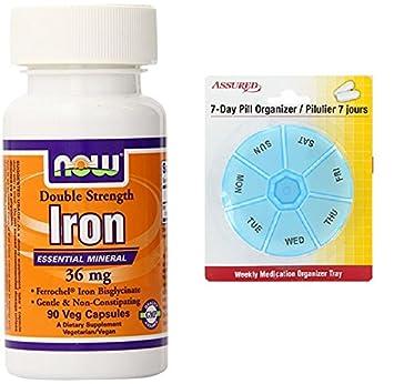 Ahora alimentos hierro bisglicinato cápsulas, 36 mg, cuenta 90 con gratis 7 días plástico