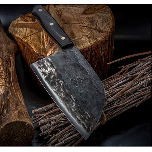 Clad Kitchen - Hunters Serbian Chef Knife - Kitchen Knife Chef Knives Handmade Forged Full Tang High-carbon Clad Steel Professional butcher knife Cleaver Meat Slicing Chopping Tool