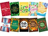 Mogarden Seasonal Garden Flag Set - 10 Pack, Artistically Designed Yard Flags, Double-Sided Printed, 12'' x 18'' Size, Thick Wheatherproof Polyester Fabric