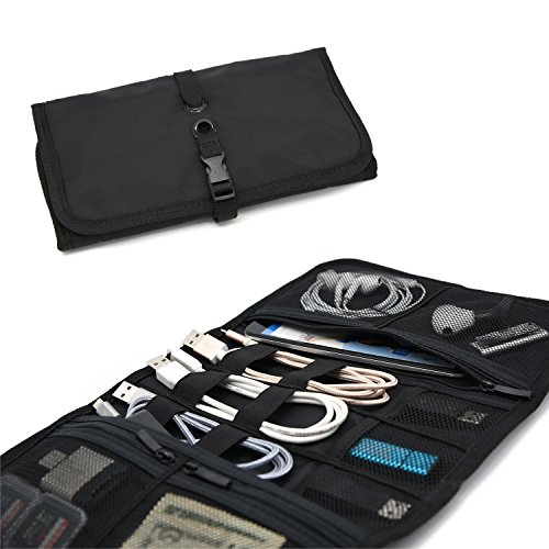 Patu Roll Up Electronics Accessories Travel Gear Organizer Case, Black - Portable Universal External Batteries Hard Drives Cable Management Healthcare Cosmetics Kit Bag
