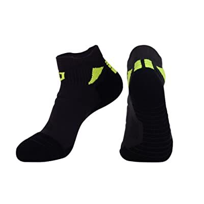 Mens Athletic Compression socks, Seamless Toes Cushioned Ankle Socks for Running by JOYNEE(1pair)