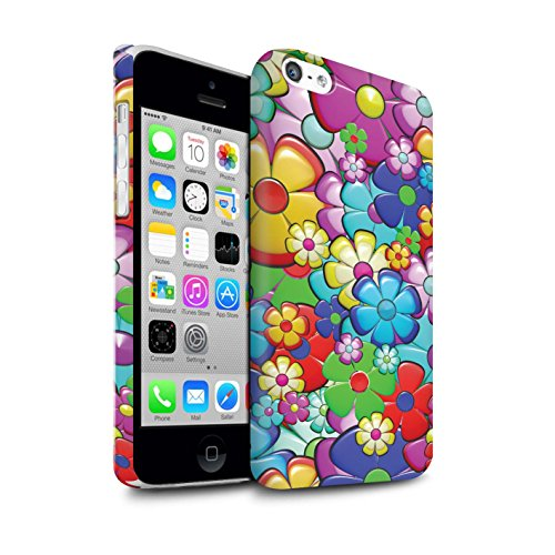 STUFF4 Matte Hard Back Snap-On Phone Case for Apple iPhone 5C/Vibrant Flower Power Design/Hippie Hipster Art Collection