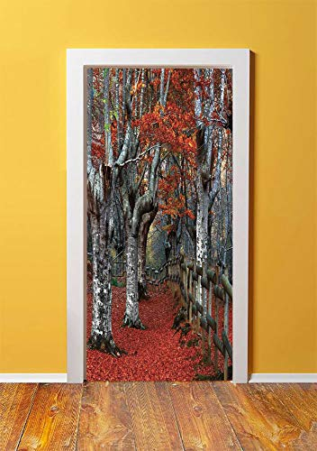 Lake House Decor 3D Door Sticker Wall Decals Mural Wallpaper,Dreamy Gated Beech Forest with Fall Leaf Mother Earth Natural Wonders Theme,DIY Art Home Decor Poster Decoration 30.3x78.7036,Grey Red