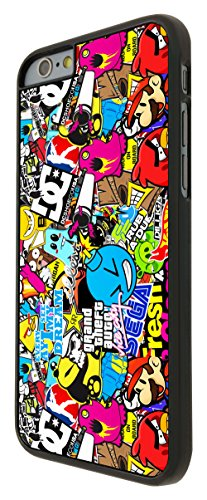 589 - StickerBomb Sticker Bomb Cool Funky Design iphone 6 6S 4.7'' Hülle Fashion Trend Case Back Cover Metall und Kunststoff - Schwarz