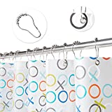 Shower Curtain,100% PEVA, 72 x 72 inch Bathroom Shower Curtain clear with 12 metal Hooks, Mildew Resistant, Waterproof , Machine Washable, Semi-Transparent,12 months warranty (OX)