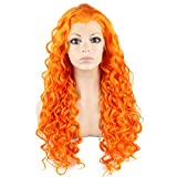 Mxangel Long Heat Resistant Synthetic Hair Orange Celebrity Stylish Curly Lace Front Wig Cosplay