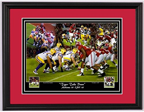 Tiger Take Down - 2015 Alabama Football vs. LSU Framed Print